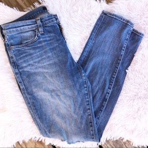 J brand super skinny mid rise ripped jeans 31